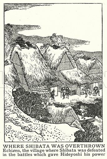 Where Shibata was overthrown. Illustration for an edition of the Harmsworth History of the World, c 1910.