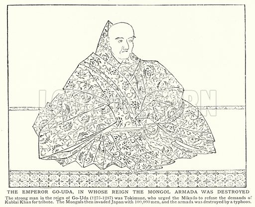 The Emperor Go-Uda, in whose reign the Mongol Armada was destroyed. Illustration for an edition of the Harmsworth History of the World, c 1910.