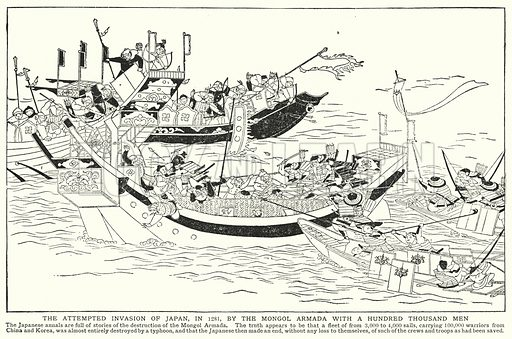 The attempted invasion of Japan, in 1281, by the Mongol Armada with a hundred thousand men. Illustration for an edition of the Harmsworth History of the World, c 1910.