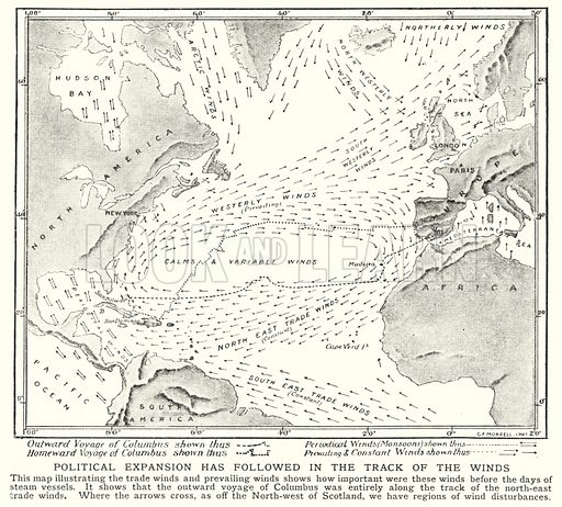 Political expansion has followed in the track of the winds. Illustration for an edition of the Harmsworth History of the World, c 1910.