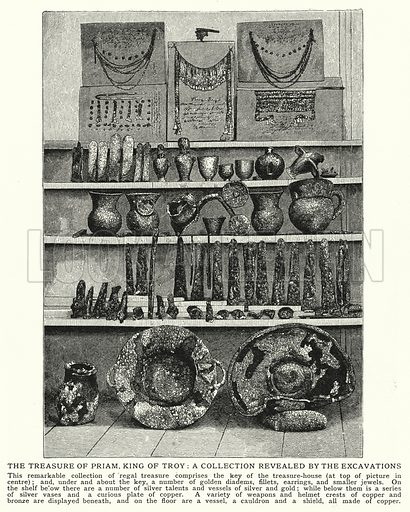 The treasure of Priam, King of Troy, a collection revealed by the excavations. Illustration for an edition of the Harmsworth History of the World, c 1910.