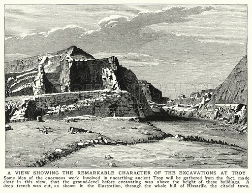 A view showing the remarkable character of the excavations at Troy. Illustration for an edition of the Harmsworth History of the World, c 1910.