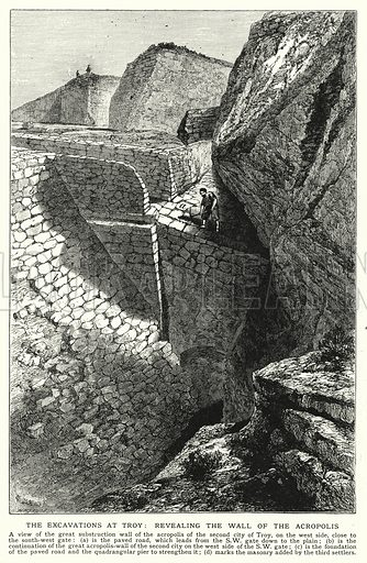 The excavations at Troy, revealing the wall of the Acropolis. Illustration for an edition of the Harmsworth History of the World, c 1910.