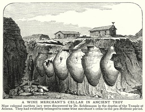 A wine merchant's cellar in ancient Troy. Illustration for an edition of the Harmsworth History of the World, c 1910.