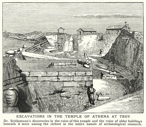 Excavations in the Temple of Athena at Troy. Illustration for an edition of the Harmsworth History of the World, c 1910.