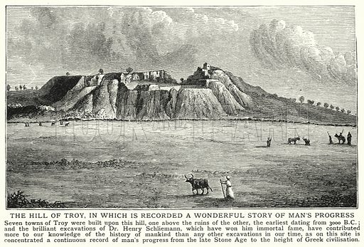 The hill of Troy, in which is recorded a wonderful story of man's progress. Illustration for an edition of the Harmsworth History of the World, c 1910.