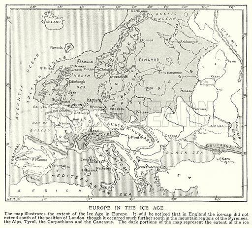 Europe in the Ice Age. Illustration for an edition of the Harmsworth History of the World, c 1910.