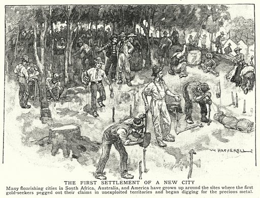 The first settlement of a new city. Illustration for an edition of the Harmsworth History of the World, c 1910.