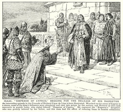 """Isaac, """"Emperor of Cyprus,"""" begging for the release of his daughter. Illustration for an edition of the Harmsworth History of the World, c 1910."""