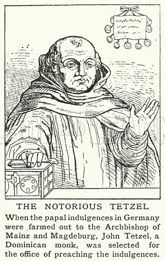The notorious Tetzel. Illustration for an edition of the Harmsworth History of the World, c 1910.