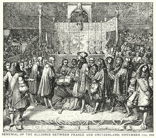 Renewal of the alliance between France and Switzerland, 16 November 1663. Illustration for an edition of the Harmsworth History of the World, c 1910.