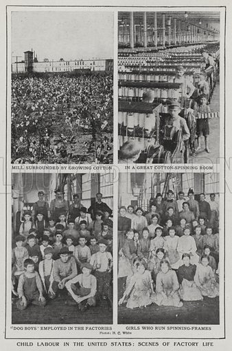 Child labour in the United States, scenes of factory life. Illustration for an edition of the Harmsworth History of the World, c 1910.