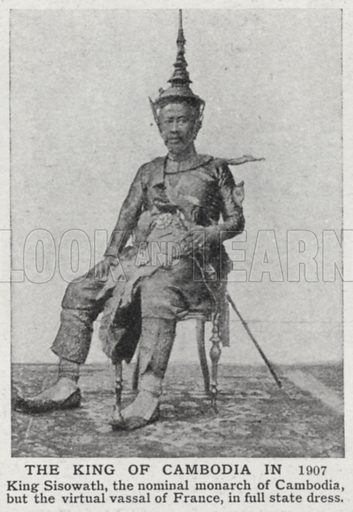 The King of Cambodia in 1907. Illustration for an edition of the Harmsworth History of the World, c 1910.