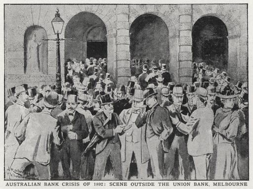 Australian bank crisis of 1892, scene outside the Union Bank, Melbourne. Illustration for an edition of the Harmsworth History of the World, c 1910.