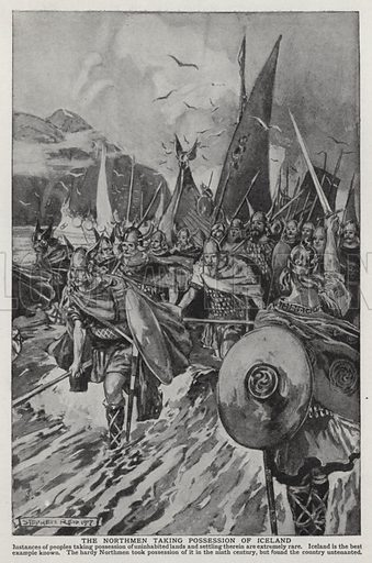 The Northmen taking possession of Iceland. Illustration for an edition of the Harmsworth History of the World, c 1910.