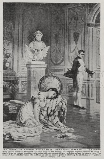 The parting of Emperor and Empress, Napoleon's farewell to Josephine. Illustration for an edition of the Harmsworth History of the World, c 1910.