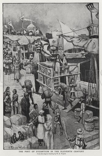 The port of Byzantium in the eleventh century. Illustration for an edition of the Harmsworth History of the World, c 1910.