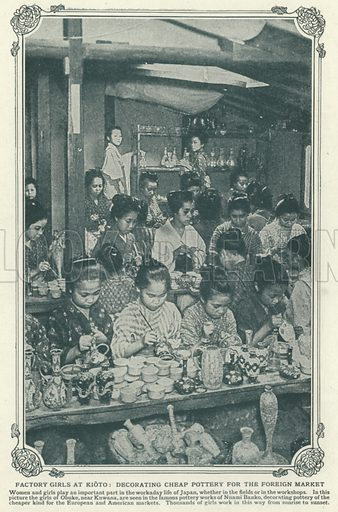 Factory girls at Kioto, decorating cheap pottery for the foreign market. Illustration for an edition of the Harmsworth History of the World, c 1910.