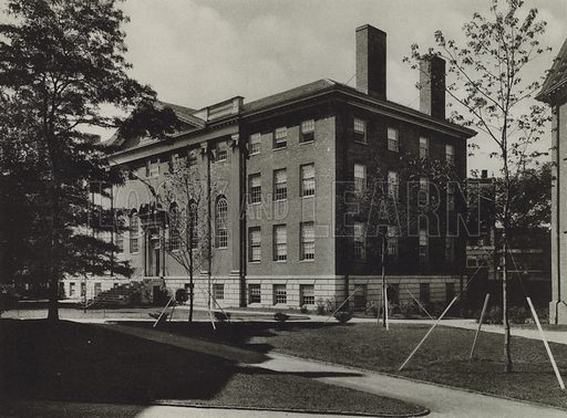 Lehman Hall, Administration. Illustration for a booklet on Harvard University (Harvard Cooperative Society, c 1915).  Gravure printed.