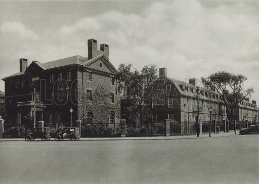 Phillips Brooks House; Mower Hall, Dormitory; Lionel Hall, Dormitory. Illustration for a booklet on Harvard University (Harvard Cooperative Society, c 1915).  Gravure printed.