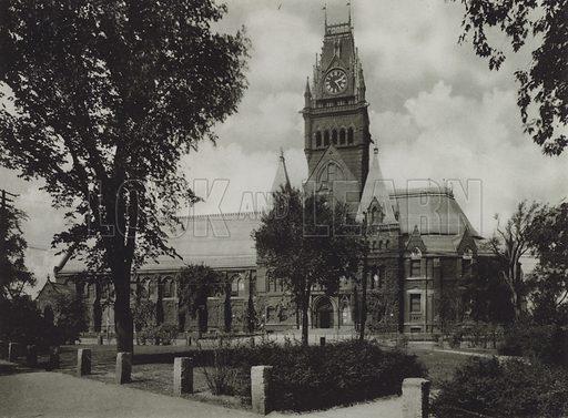 Memorial Hall. Illustration for a booklet on Harvard University (Harvard Cooperative Society, c 1915).  Gravure printed.