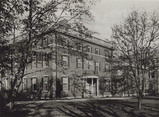 President Lowell's Residence. Illustration for a booklet on Harvard University (Harvard Cooperative Society, c 1915).  Gravure printed.