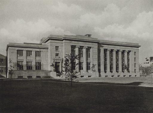 Langdell Hall, Harvard Law School. Illustration for a booklet on Harvard University (Harvard Cooperative Society, c 1915).  Gravure printed.