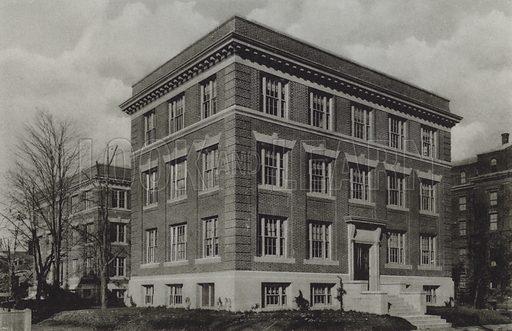 Wolcott Gibbs Memorial Laboratory, T Jefferson Coolidge Chemical Laboratory. Illustration for a booklet on Harvard University (Harvard Cooperative Society, c 1915).  Gravure printed.
