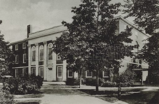 Music Building. Illustration for a booklet on Harvard University (Harvard Cooperative Society, c 1915).  Gravure printed.