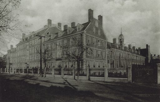 Smith Halls. Illustration for a booklet on Harvard University (Harvard Cooperative Society, c 1915).  Gravure printed.