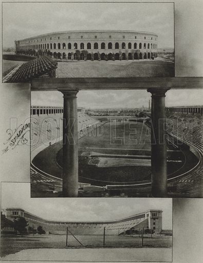 The Stadium. Illustration for a booklet on Harvard University (Harvard Cooperative Society, c 1915).  Gravure printed.