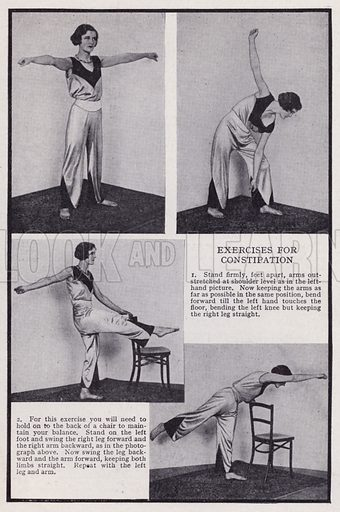 Exercises for constipation. Illustration for Every Woman's Book of Health and Beauty (Amalgamated Press, c 1935). An interesting guide to how women can maximise their sex appeal.