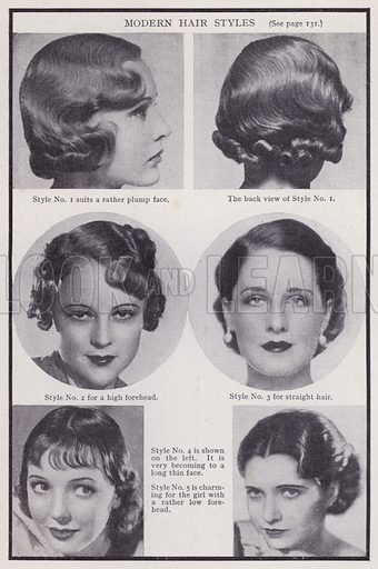Modern hair styles. Illustration for Every Woman's Book of Health and Beauty (Amalgamated Press, c 1935).  An interesting guide to how women can maximise their sex appeal.