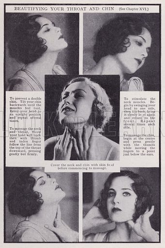 Beautifying your throat and chin. Illustration for Every Woman's Book of Health and Beauty (Amalgamated Press, c 1935).  An interesting guide to how women can maximise their sex appeal.
