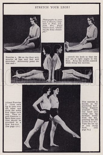Stretch your legs! Illustration for Every Woman's Book of Health and Beauty (Amalgamated Press, c 1935).  An interesting guide to how women can maximise their sex appeal.