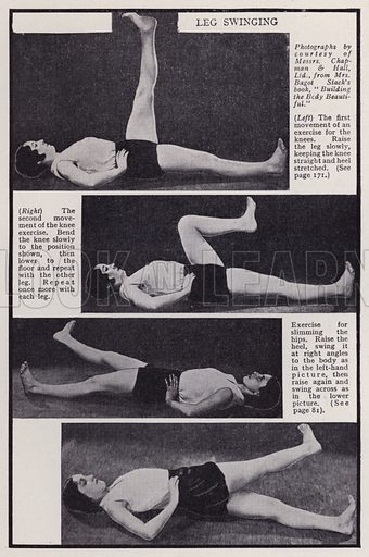 Leg swinging. Illustration for Every Woman's Book of Health and Beauty (Amalgamated Press, c 1935).  An interesting guide to how women can maximise their sex appeal.