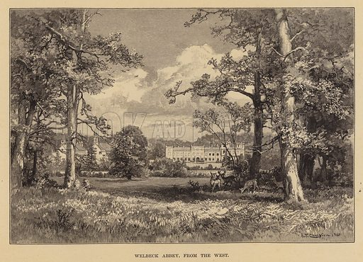 Welbeck Abbey, from the West. Illustration for Historic Houses of the United Kingdom (Cassell, 1892).