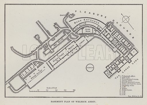 Basement Plan of Welbeck Abbey. Illustration for Historic Houses of the United Kingdom (Cassell, 1892).