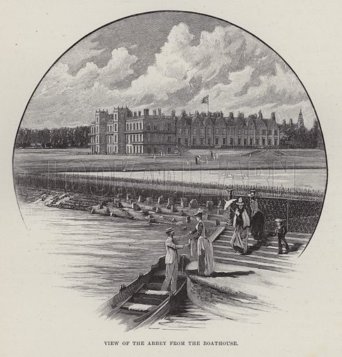 Welbeck Abbey, View of the Abbey from the Boathouse. Illustration for Historic Houses of the United Kingdom (Cassell, 1892).