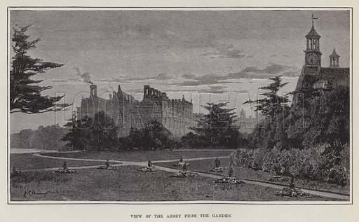 Welbeck Abbey, View of the Abbey from the Garden. Illustration for Historic Houses of the United Kingdom (Cassell, 1892).