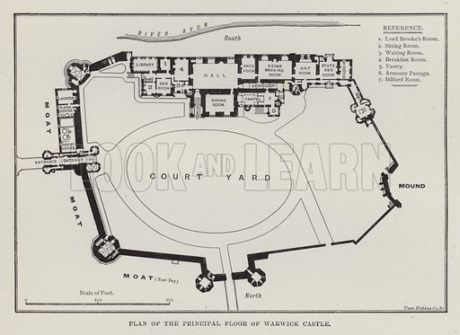 Plan of the Principal Floor of Warwick Castle. Illustration for Historic Houses of the United Kingdom (Cassell, 1892).