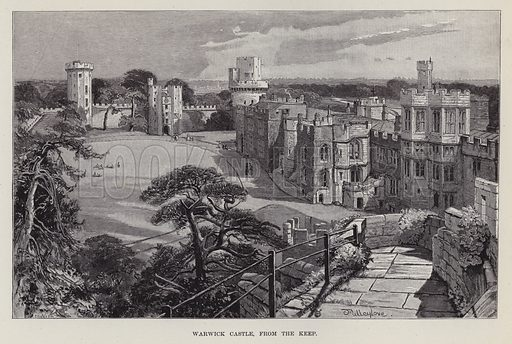 Warwick Castle, from the Keep. Illustration for Historic Houses of the United Kingdom (Cassell, 1892).