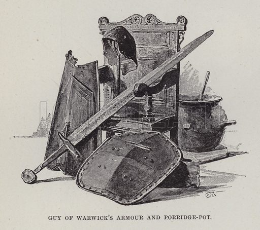 Warwick Castle, Guy of Warwick's Armour and Porridge-Pot. Illustration for Historic Houses of the United Kingdom (Cassell, 1892).