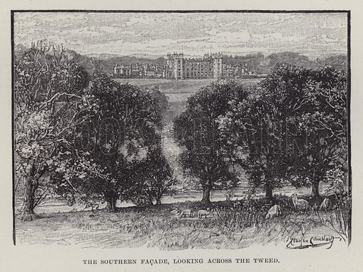 Floors Castle, The Southern Facade, looking across the Tweed. Illustration for Historic Houses of the United Kingdom (Cassell, 1892).