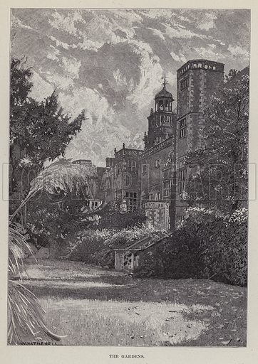 Hatfield House, The Gardens. Illustration for Historic Houses of the United Kingdom (Cassell, 1892).
