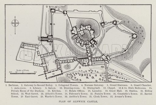 Plan of Alnwick Castle. Illustration for Historic Houses of the United Kingdom (Cassell, 1892).