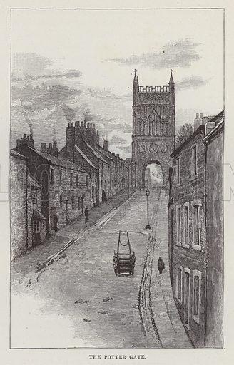 Alnwick Castle, The Potter Gate. Illustration for Historic Houses of the United Kingdom (Cassell, 1892).
