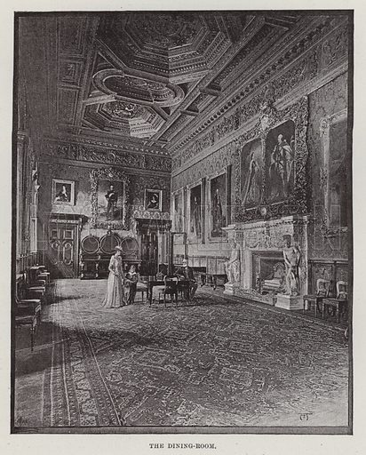 Alnwick Castle, The Dining-Room. Illustration for Historic Houses of the United Kingdom (Cassell, 1892).