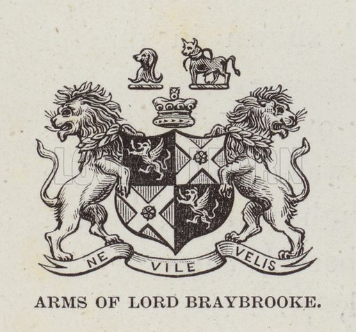 Audley End, Arms of Lord Braybrooke. Illustration for Historic Houses of the United Kingdom (Cassell, 1892).