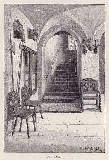 Malahide Castle, The Hall. Illustration for Historic Houses of the United Kingdom (Cassell, 1892).